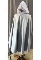 Cloak and Dagger Creations 4075 - Pale Slate Blue Wool Blend Shaped Shoulder Cloak, Matching Crushed Velvet Hood Lining, Pewter Triple Medallion Clasp