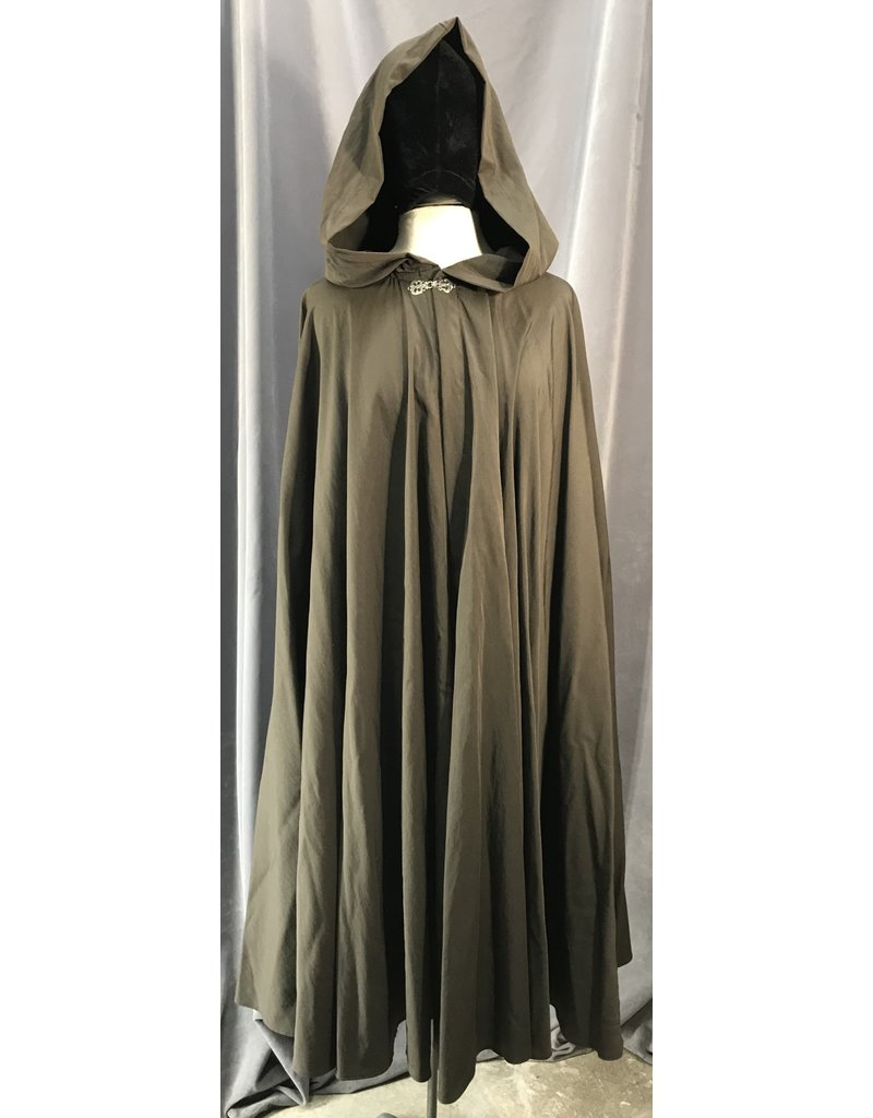Cloak and Dagger Creations 4062 - Chocolate Brown Full Circle Cloak, Unlined Hood, Unusual Pewter Clasp