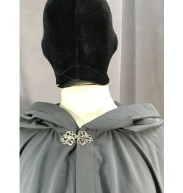 Cloak and Dagger Creations 4054 - Easy Care Water Resistant Slate Grey Shaped Shoulder Ruana-Style Cloak, Pewter Vale Clasp