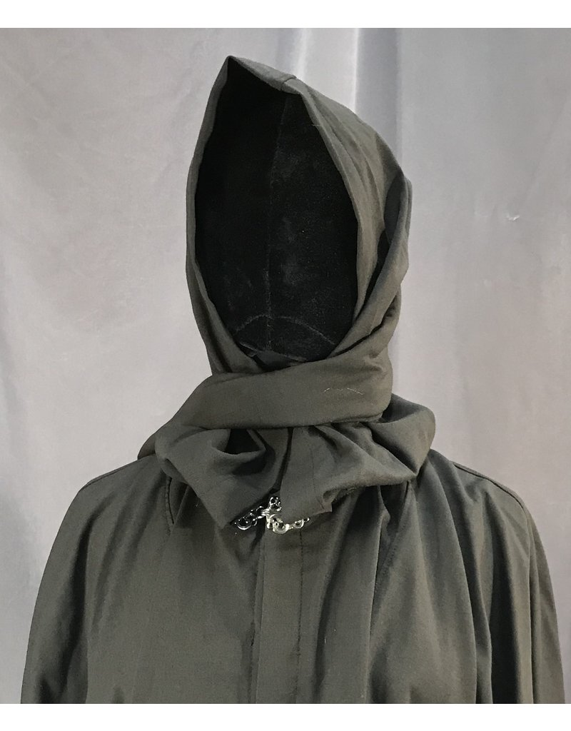 Cloak and Dagger Creations 4059 - Brown Black Liripipe Hood Short Full Circle Cloak, Pewter Vale Clasp
