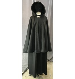 Cloak and Dagger Creations 4111 - Black Wool Highwayman's Cloak, Black Velvet Hood Lining, Pewter Triple Medallion Clasp