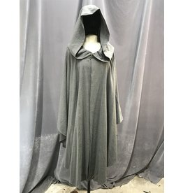 Cloak and Dagger Creations 4077 - Washable Lightweight Grey Wool Blend Ruana-style Cloak w/ Pockets, Pewter Vale Clasp