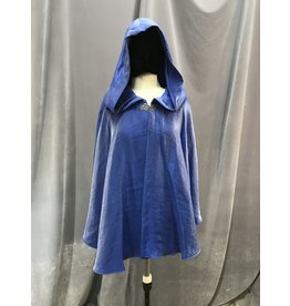 Cloak and Dagger Creations 4091 - Shimmering Indigo Blue Short Easy Care Cloak, Pewter Vale Clasp