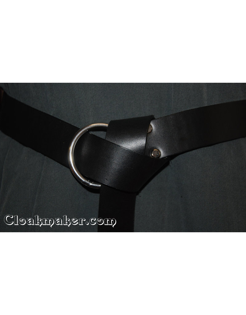 Cloak and Dagger Creations 1'' Black Leather Ring Belt with Nickel Silver - 73+''