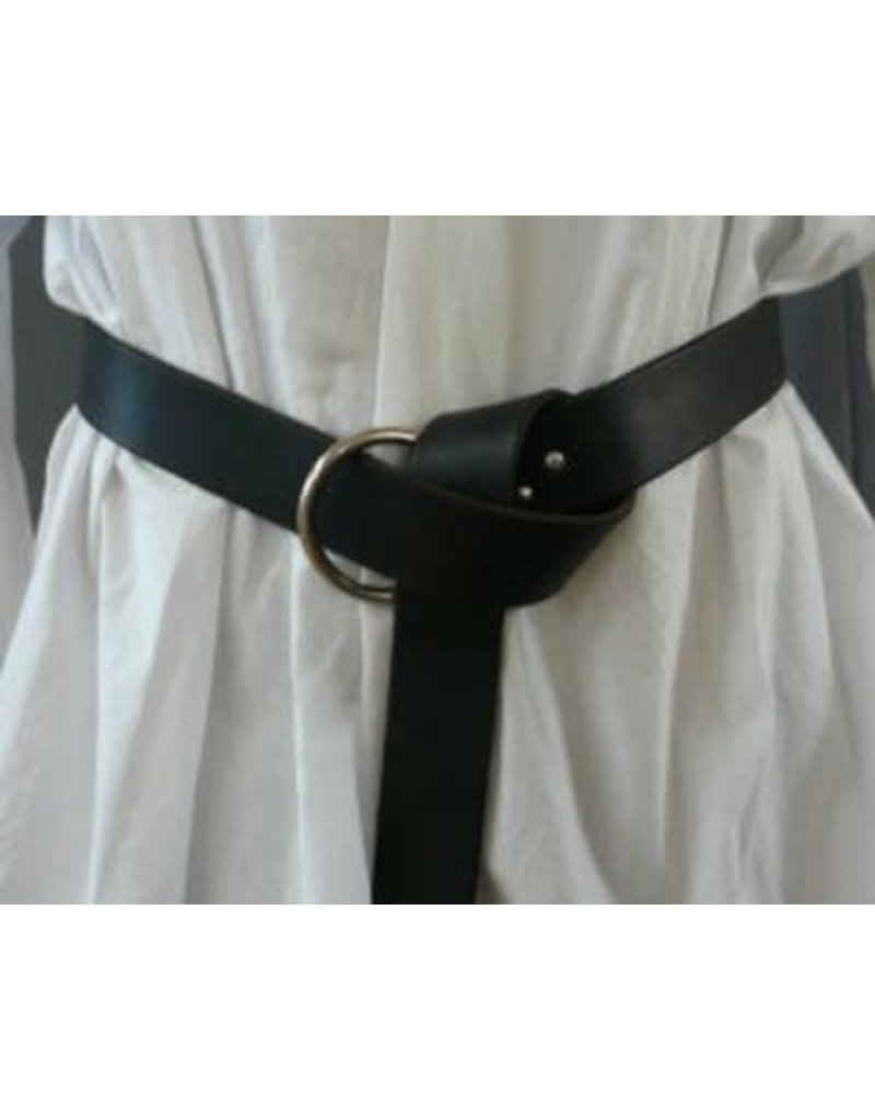 Cloak and Dagger Creations 1.50'' Black Leather Ring Belt with Nickel Silver Ring - 93''