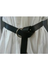 Cloak and Dagger Creations 1.50'' Black Leather Ring Belt with Nickel Silver Ring - Distressed