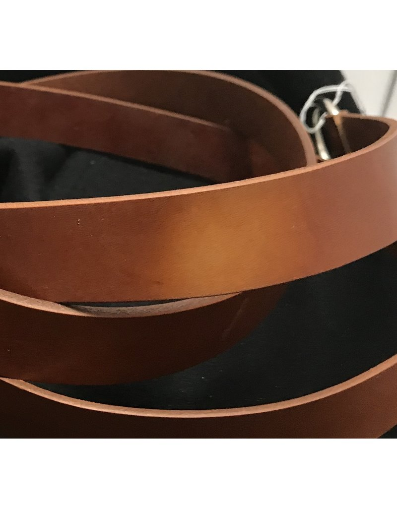 Cloak and Dagger Creations 1.125'' Cognac Brown Ring Belt with Nickel Silver Ring - Distressed