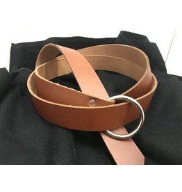 "Cloak and Dagger Creations 1.5"" Cognac Brown Ring Belt with Nickel Silver Ring - 84"""