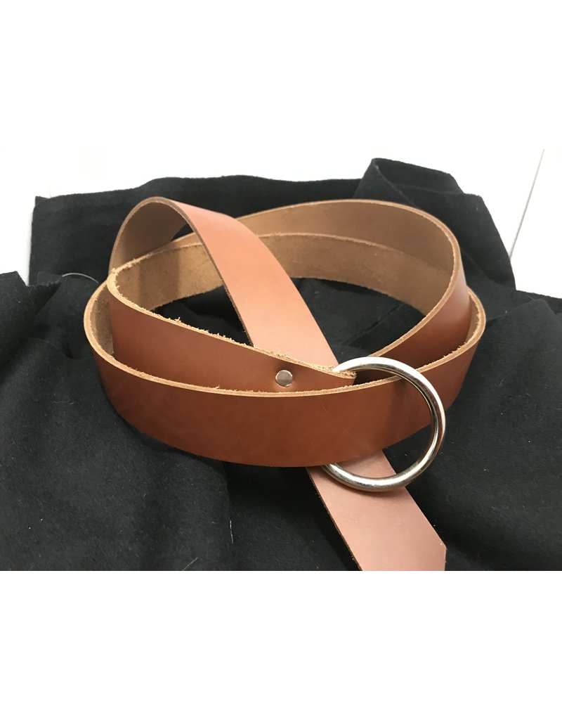 Cloak and Dagger Creations 1.5'' Cognac Brown Ring Belt with Nickel Silver Ring - 84''
