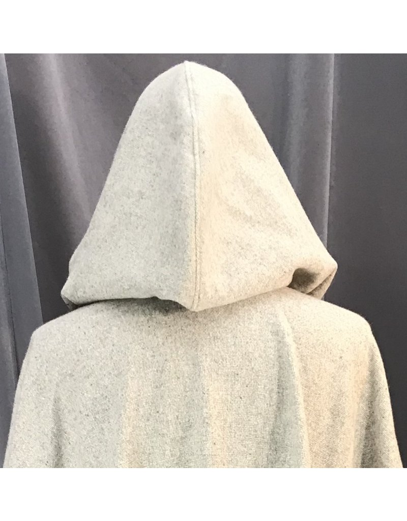 Cloak and Dagger Creations 4123 - Light Variagated Grey Wool Ruana-Style Cloak, Unlined Hood, Pewter Round Celtic Horses Clasp