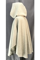 Cloak and Dagger Creations 4123 - Light Variagated Grey Wool Ruana-Style Cloak w/Pockets, Unlined Hood, Pewter Round Celtic Horses Clasp