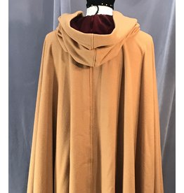 Cloak and Dagger Creations 4127 - XL Orche Brown Full Circle Cloak, Carnelian Red Hood Lining, Silver Vale-type Clasp