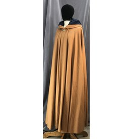 Cloak and Dagger Creations 4129 - Ochre Brown Long Cloak, Persian Blue Faux Suede Hood Lining, Golden Vale-type Clasp