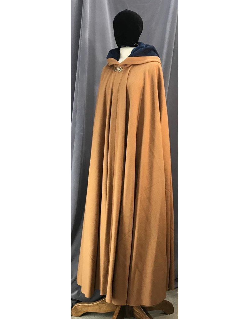 Cloak and Dagger Creations 4129 - Golden Brown Long Cloak,  Blue Hood Lining, Gold Tone Clasp