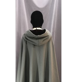 Cloak and Dagger Creations 4133 - Steel Grey Full Circle Winter Cloak, Dark Wine Red Velvet Hood Lining, Pewter Triple Medallion Clasp
