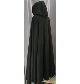 Cloak and Dagger Creations 4136 - Long Black Woolen Cloak, Grey Hood Lining, Pewter Triple Medallion Clasp
