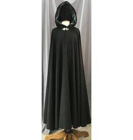 Cloak and Dagger Creations 4138 - Long Black Woolen Cloak, Grey Crushed Velvet Hood Lining, Pewter Triple Medallion Clasp