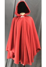 Cloak and Dagger Creations 4140 - Easy Care Scarlet Red Fleece Ruana Style Cloak, Silvertone Vale Clasp
