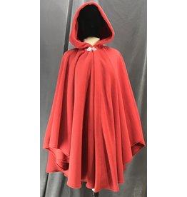 Cloak and Dagger Creations 4140 - Easy Care Soft Red Fleece Ruana Style Cloak, Silvertone Vale Clasp