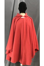 Cloak and Dagger Creations 4140 - Easy Care Soft Red Fleece Ruana Style Cloak, Silvertone Vale Clasp