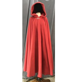 Cloak and Dagger Creations 4141- Scarlet Red Fleece Long Easy Care Cloak, Pewter Vale Clasp