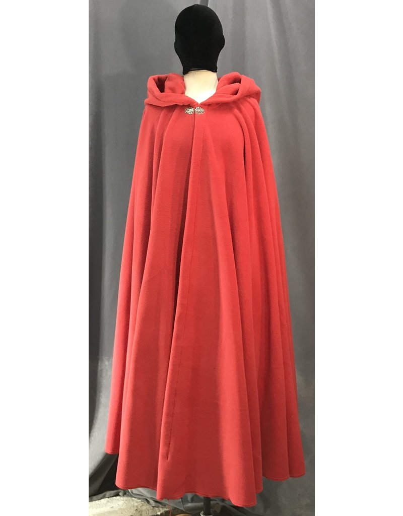 Cloak and Dagger Creations 4141 -  Scarlet Red Fleece Long Easy Care Cloak, Pewter Vale Clasp
