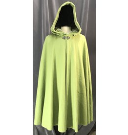 Cloak and Dagger Creations 4121 - Lawn Green Washed Wool Blend Cloak, Tea Green Cotton Hood Lining, Pewter Triple Medallion Clasp