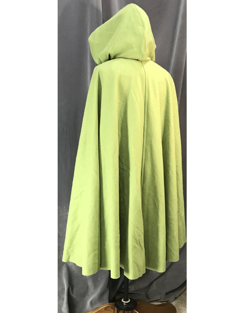 Cloak and Dagger Creations 4121 - Vibrant Green Washed Wool Blend Cloak, Tea Green Cotton Hood Lining, Pewter Triple Medallion Clasp