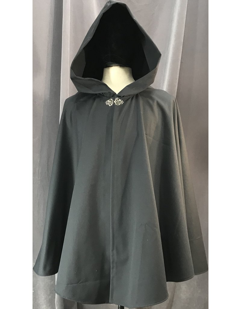 Cloak and Dagger Creations 4112 - Easy Care Battleship Grey Cotton Shorter Ruana, Unlined Hood, Pewter Vale Clasp