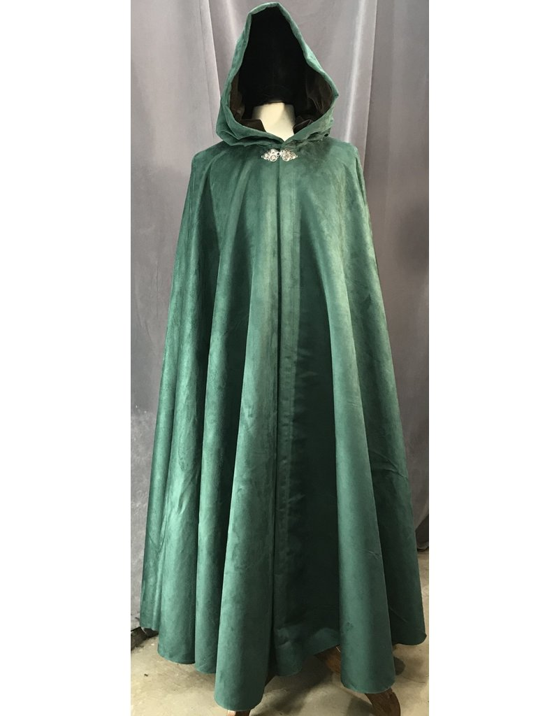 Cloak and Dagger Creations 4113 - Easy Care Faux Suede Forest Green Full Circle Cloak, Brown Cotton Velvet Hood Lining,