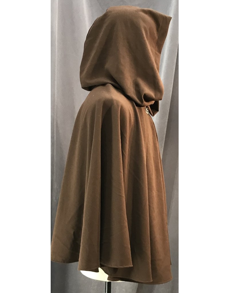 Cloak and Dagger Creations 4114 -  Brown Easy Care Short Cloak, Pewter Vale Clasp