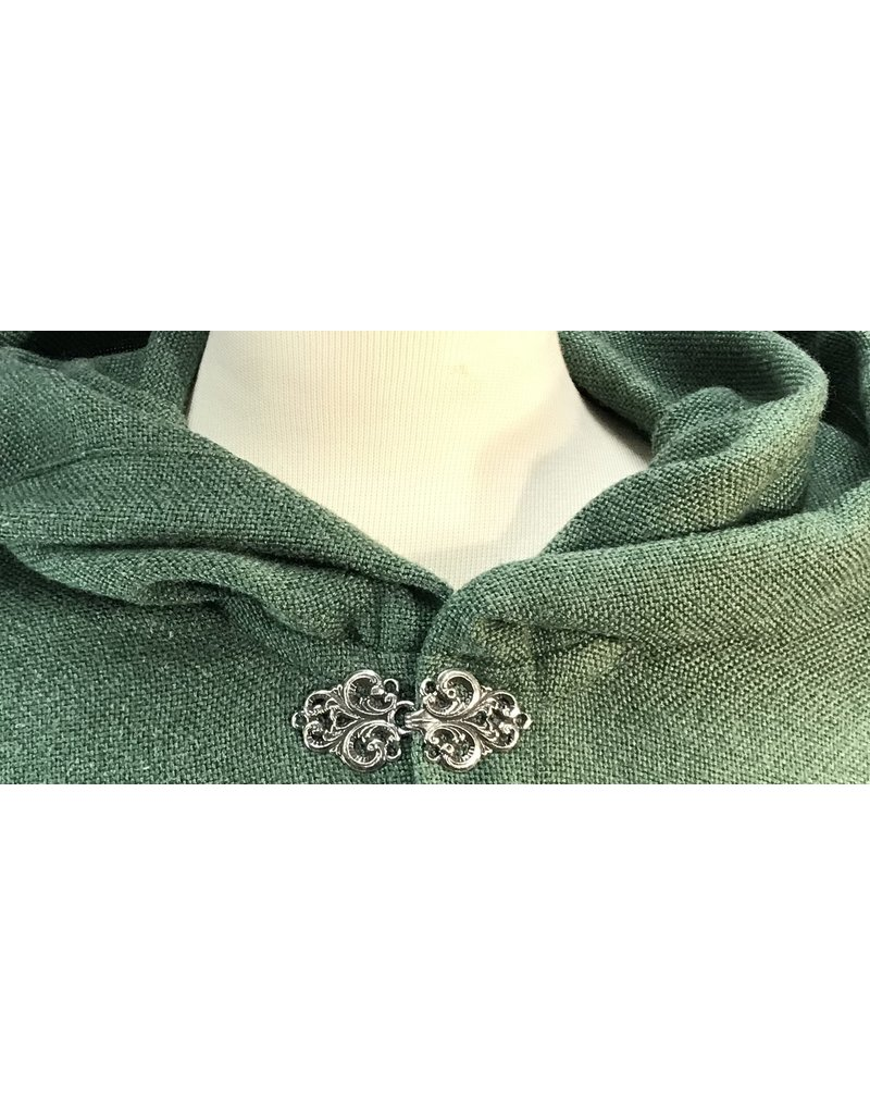 Cloak and Dagger Creations 4115 - Shamrock Green Easy Care Ruana-style Cloak, Unlined Hood, Golden Vale Clasp