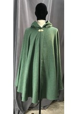 Cloak and Dagger Creations 4117 - Mossy Green Easy Care Cloak, Unlined Hood, Gold-tone Vale Clasp