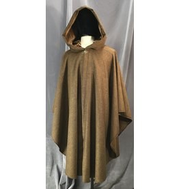 Cloak and Dagger Creations 4118 - Variaged Brown w/Black Herringbone Ruana-Style Cloak, Brown Velvet Hood Lining, Curly Bronze-look Clasp