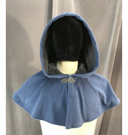 Cloak and Dagger Creations 4101 - French Blue Windblock Fleece Short Youth Cloak, Self-lined in Grey, Pewter Vale Clasp