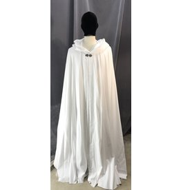 Cloak and Dagger Creations 4103 - Bright White Easy-Care Lightweight Full Circle Cloak, Pewter Vale Clasp