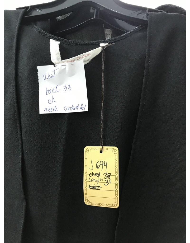 Cloak and Dagger Creations J694 - Black Open V-Neck Washed Wool Vest