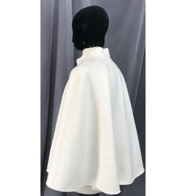 Cloak and Dagger Creations 4079 - Creamy White Calvary Twill Wool Hoodless Shaped Shoulder Short Cloak, Hidden Snap Closure