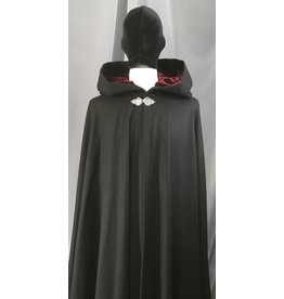 Cloak and Dagger Creations 4094 - Black Wool Full Circle Cloak w/Burgandy Red Velvet Hood Lining, Pewter Triple Medallion Clasp