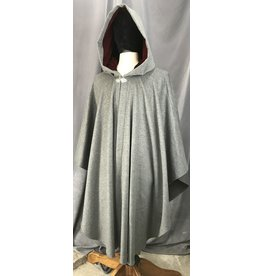 Cloak and Dagger Creations 4130 - Heathered Medium Grey Ruana Style Cloak, Carnelian Red Velveteen Hood Lining, Pewter Vale-style Clasp