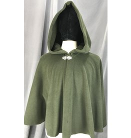 Cloak and Dagger Creations 4142 - Dark Moss Green Fleece Short Cloak, Easy Care, Pewter Vale Clasp