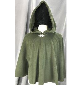Cloak and Dagger Creations 4142 - Dark Moss Green Fleece Short Cloak, Easy Care, Pewter Vale Clasp