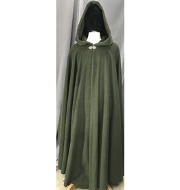 Cloak and Dagger Creations 4145 - Moss Green Fleece Long Full Circle Cloak, Pewter Vale Clasp