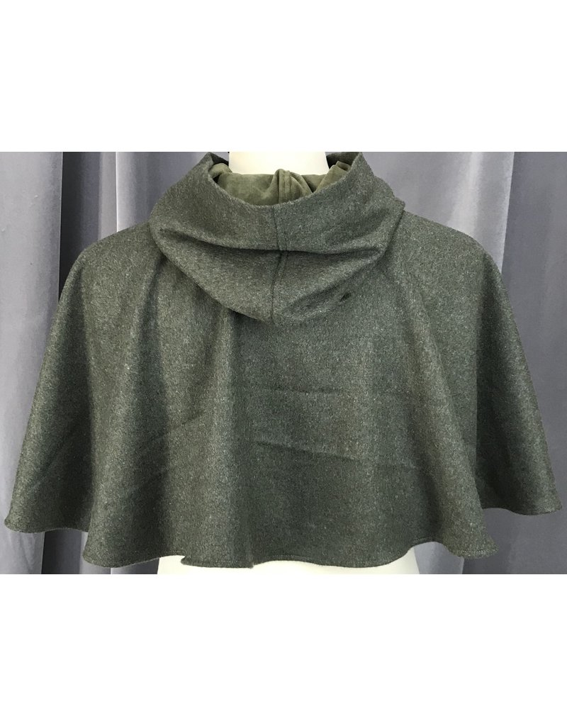 Cloak and Dagger Creations 4146 - Moss Green Short Cloak w/Pockets, Olive Green Microfiber Hood Lining