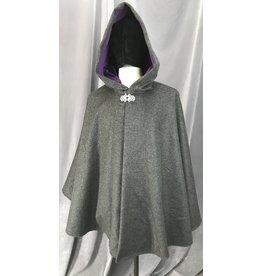 Cloak and Dagger Creations 4149 - Grey Wool Ruana-Style Cloak w/Pockets, Dark Violet Faux Suede Hood Lining