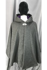 Cloak and Dagger Creations 4149 - Grey Wool Runana-Style Cloak w/Pockets, Dark Violet Faux Suede Hood Lining