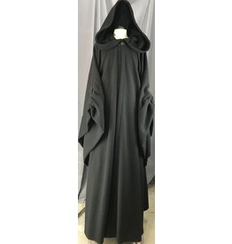 Cloak and Dagger Creations R464 - Black Wool Emperor Palpatine Robe, Ruched Sleeves, Black Vale Clasp
