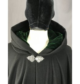 Cloak and Dagger Creations 4097 - Black Wool Blend Full Circle Cloak w/Deep Green Velvet Hood Lining, Pewter Triple Medallion Clasp