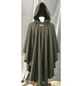 Cloak and Dagger Creations 4152 - Seaweed Green Ruana-Style Cloak, Black Velvet Hood Lining, Pewter Vale Clasp
