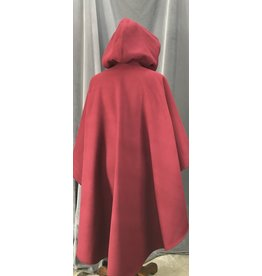 Cloak and Dagger Creations 4153 - Easy Care Maroon Red Ruana-Style Cloak, Unlined Hood, Petwer Vale Clasp